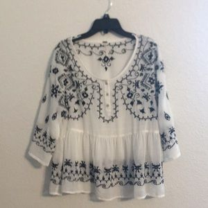 Free People embroidered blouse size s/p